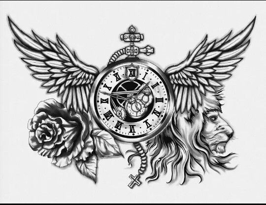Tattoo Clock Wing Chest: Clock-time, Wings-freedom, Rose-beauty, Lion-strength, And