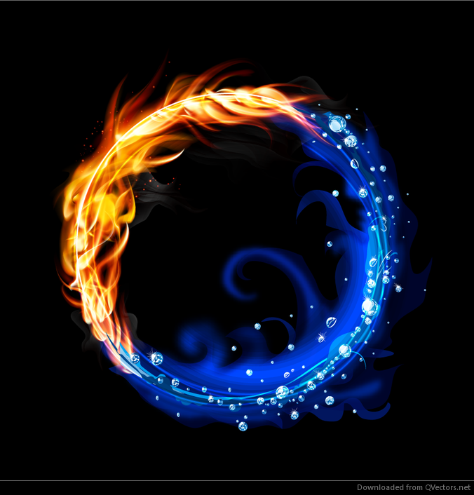 Fire And Water Ring Free Vector Download Qvectors Net Fire Art Flame Art Fire Vs Water