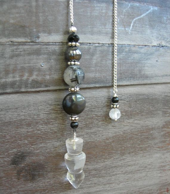 Black Rainbow Obsidian, Black Tourmaline Tourmalinated Quartz, Hematite, Onyx, Crystal Quartz Gemstone Pendulum, Divining Dowsing Metaphysical Tool by MariposaStoneWorks on Etsy, $25, click now to purchase, use code PIN10 for 10% off, just in time for the holidays!!