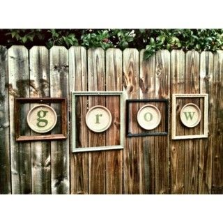 Stencil Letters On Terracotta Saucers And Then Hang Inside Old Picture  Frames For Instant Garden Art. For Our Vinyl Fence We Could Hang The Old  Frames With ...