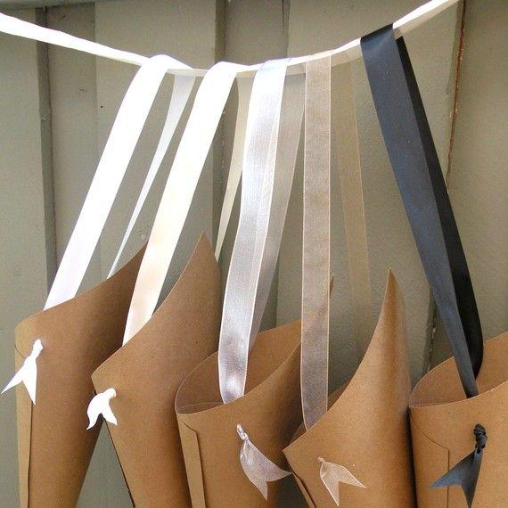 Simple Wedding Church Pew Decorations: Simple Kraft Paper Wedding Cones With Custom By