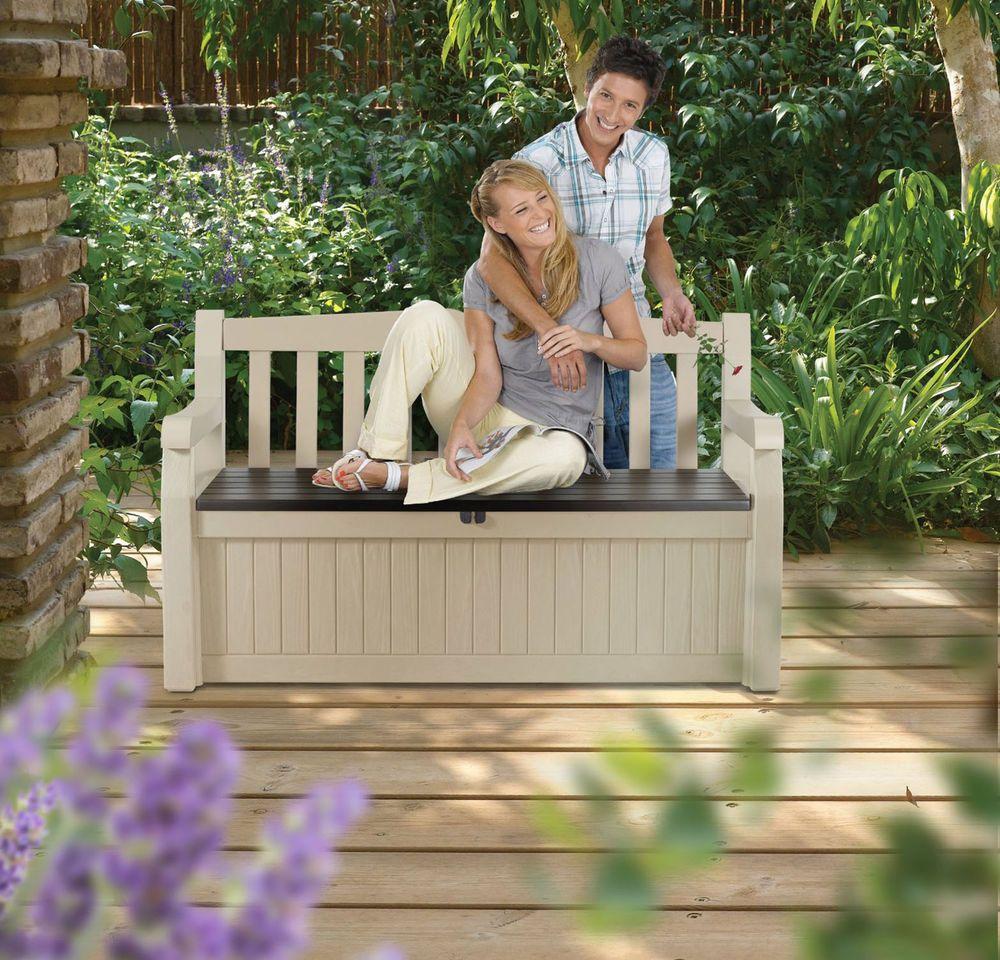 outdoor storage bench garden pool deck box patio furniture seat