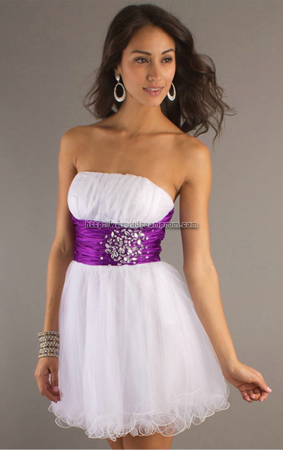 Cocktail Dress In White With A Purple Belt Dresses Pinterest