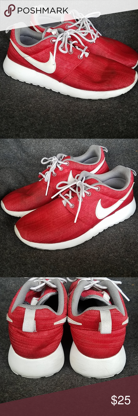 d9745f9e48dc5 Nike Roshe USED no box big kids sz6.5y Nike Roshe Red White. Condition  7 10. Nike Shoes Sneakers
