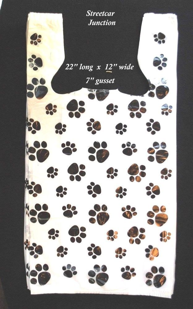 93e464482 100 DOG / CAT PAW PRINT Plastic Bags - T-Shirt Bags - 22