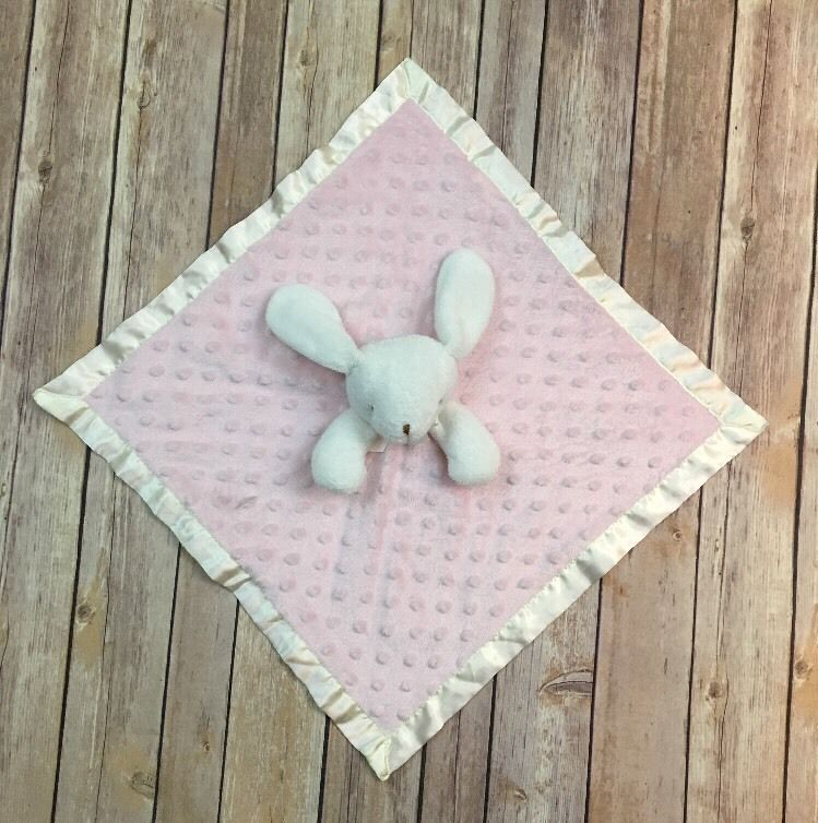 Blankets and Beyond Pink Minky Dot Satin Bunny Rabbit Baby Girl Security Blanket #BlanketsBeyond