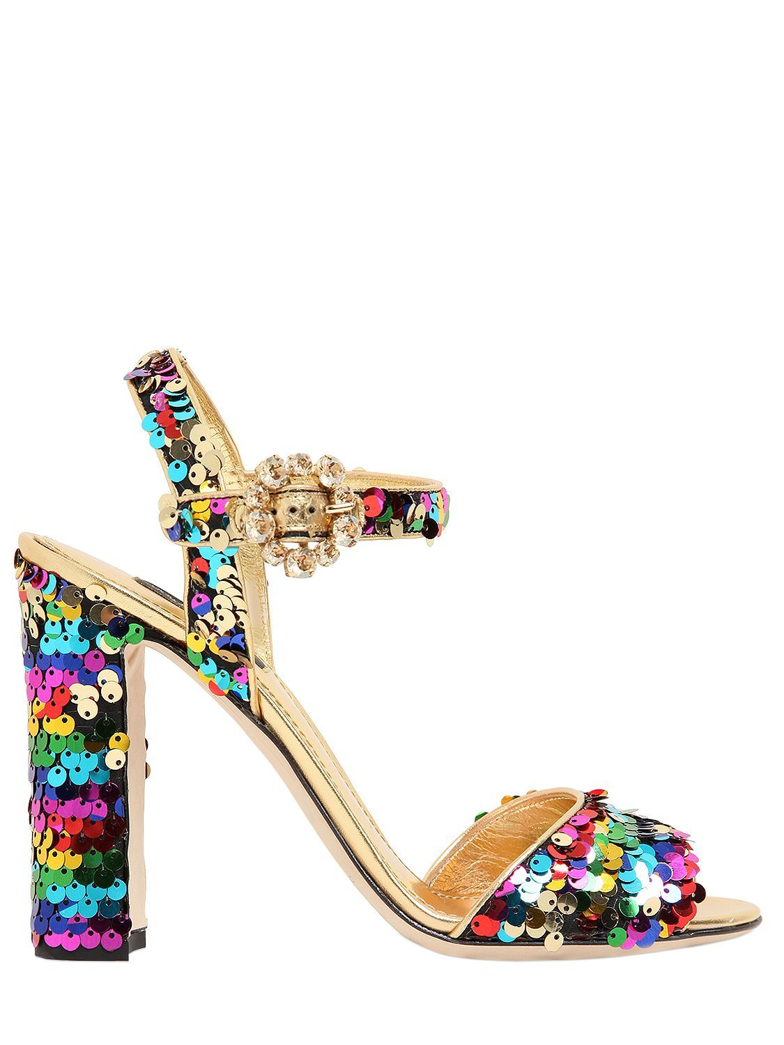 DOLCE & GABBANA - 90MM BIANCA SEQUINED LEATHER SANDALS - SANDALS - GOLD/MULTI - LUISAVIAROMA