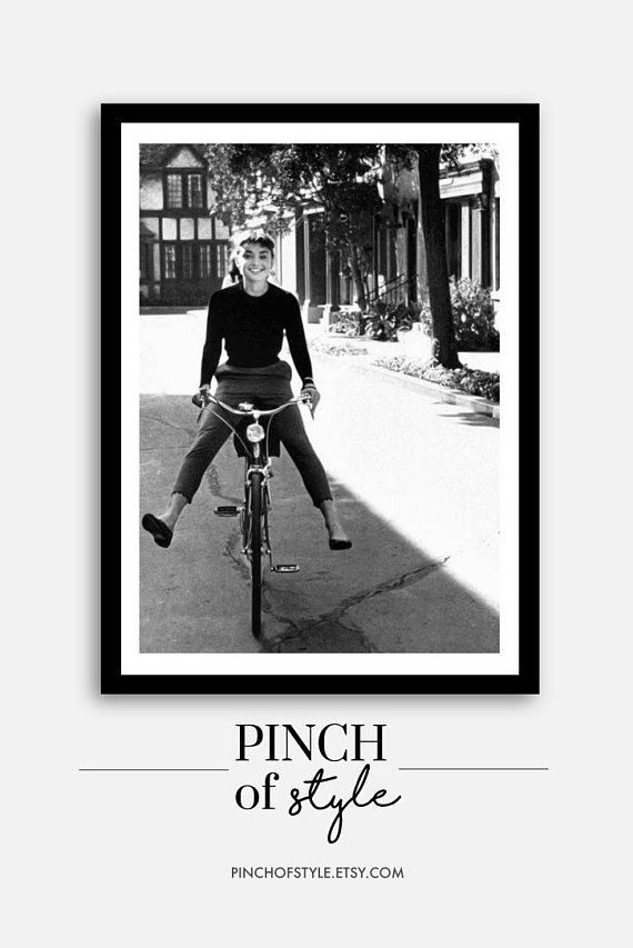 Audrey Hepburn Wall Art Audrey Hepburn Riding A Bike