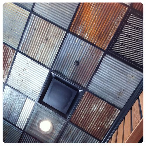 Upcycled Ceiling Tiles With Lots Of Rust Drop Ceiling Tiles Metal Ceiling Metal Ceiling Tiles
