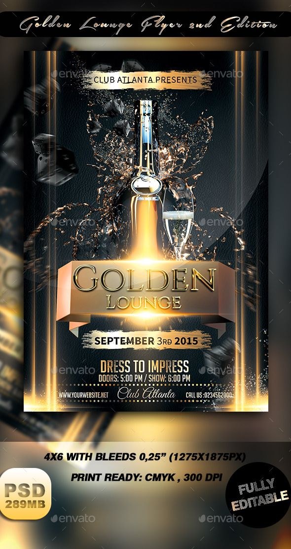 Golden Lounge Flyer Nd Edition  Flyer Template Christmas Flyer