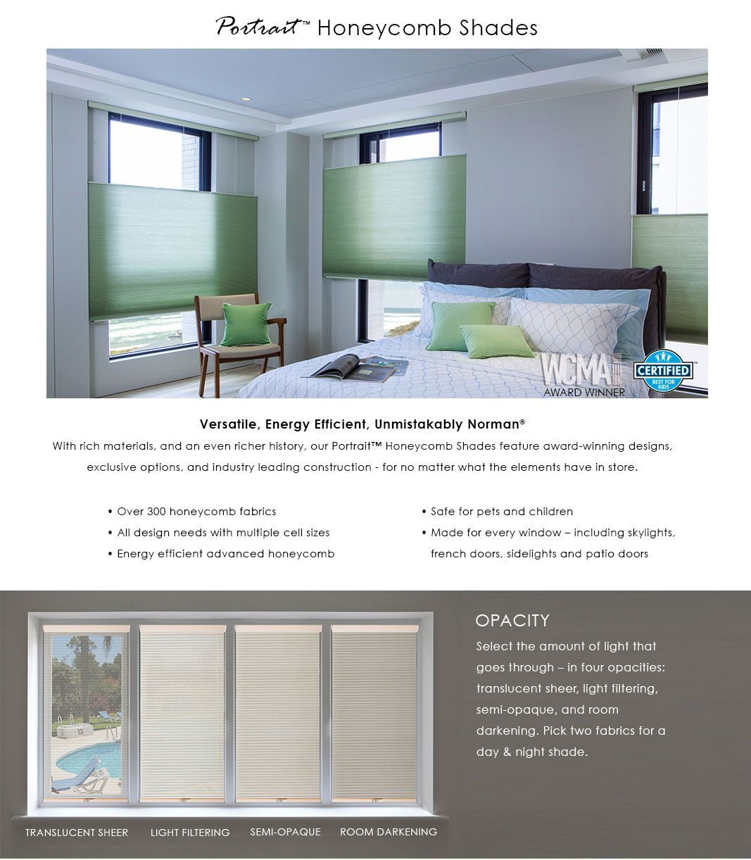 With portrait honeycomb shades you can select the opacity or pick