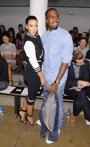 Love Kim K's outfit ♥ varsity jacket pencil skirt