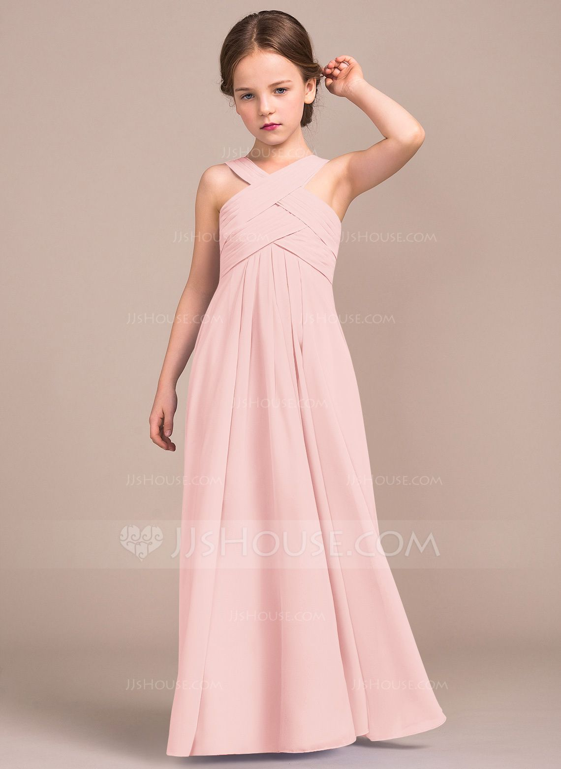 4c33361e08 A-Line Princess V-neck Floor-Length Ruffle Zipper Up Regular Straps  Sleeveless No Lavender General Chiffon Junior Bridesmaid Dress