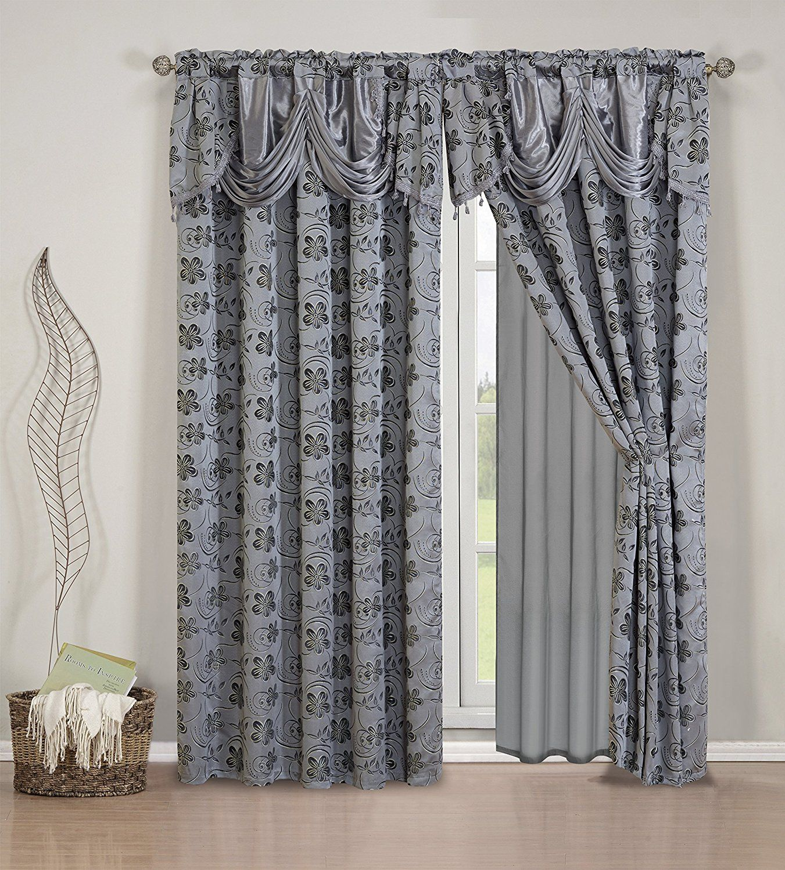Elegant Home Beautiful Grey Black Window Embroidery