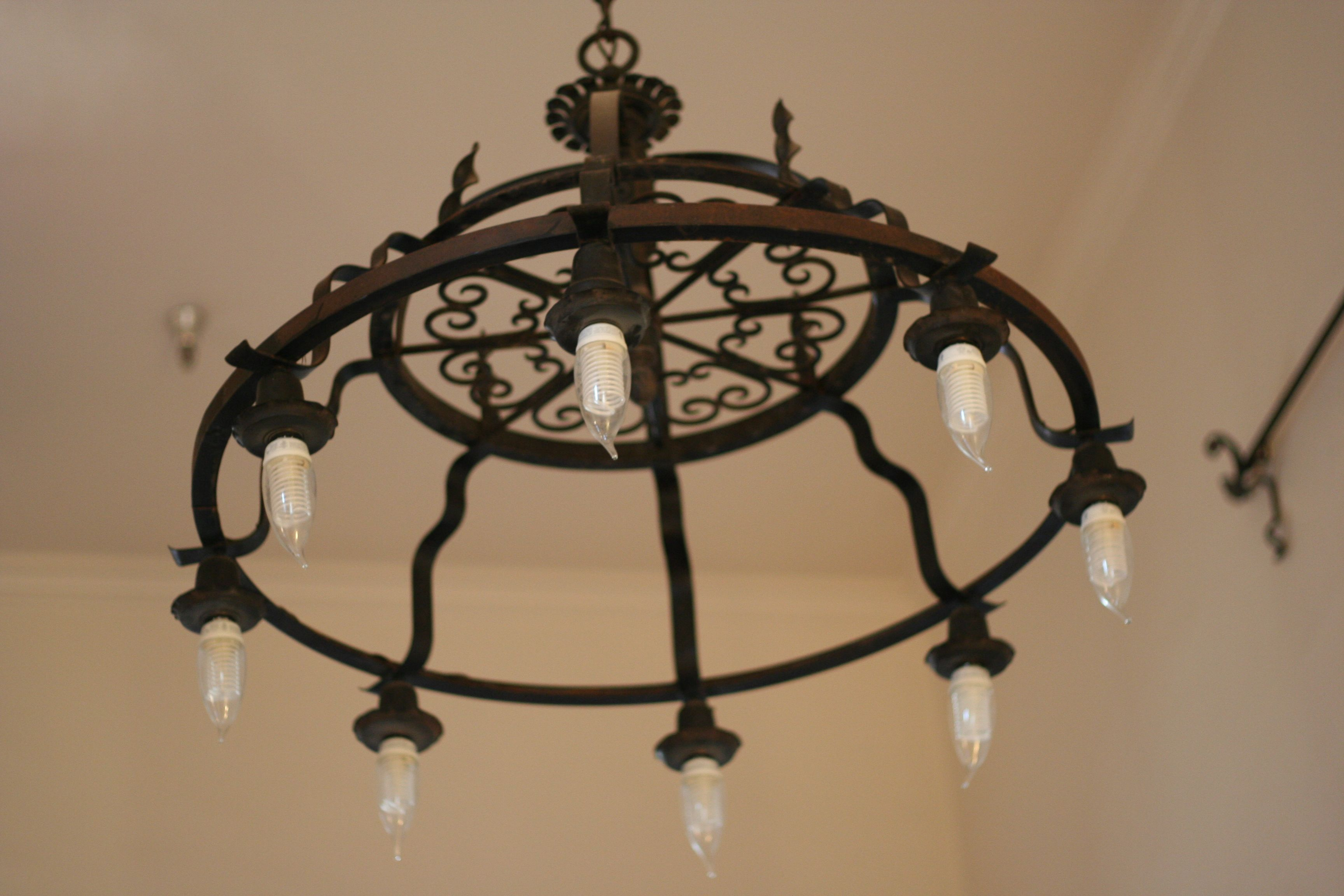 Old wrought black iron chandelier decor ideas pinterest iron old wrought black iron chandelier aloadofball Image collections
