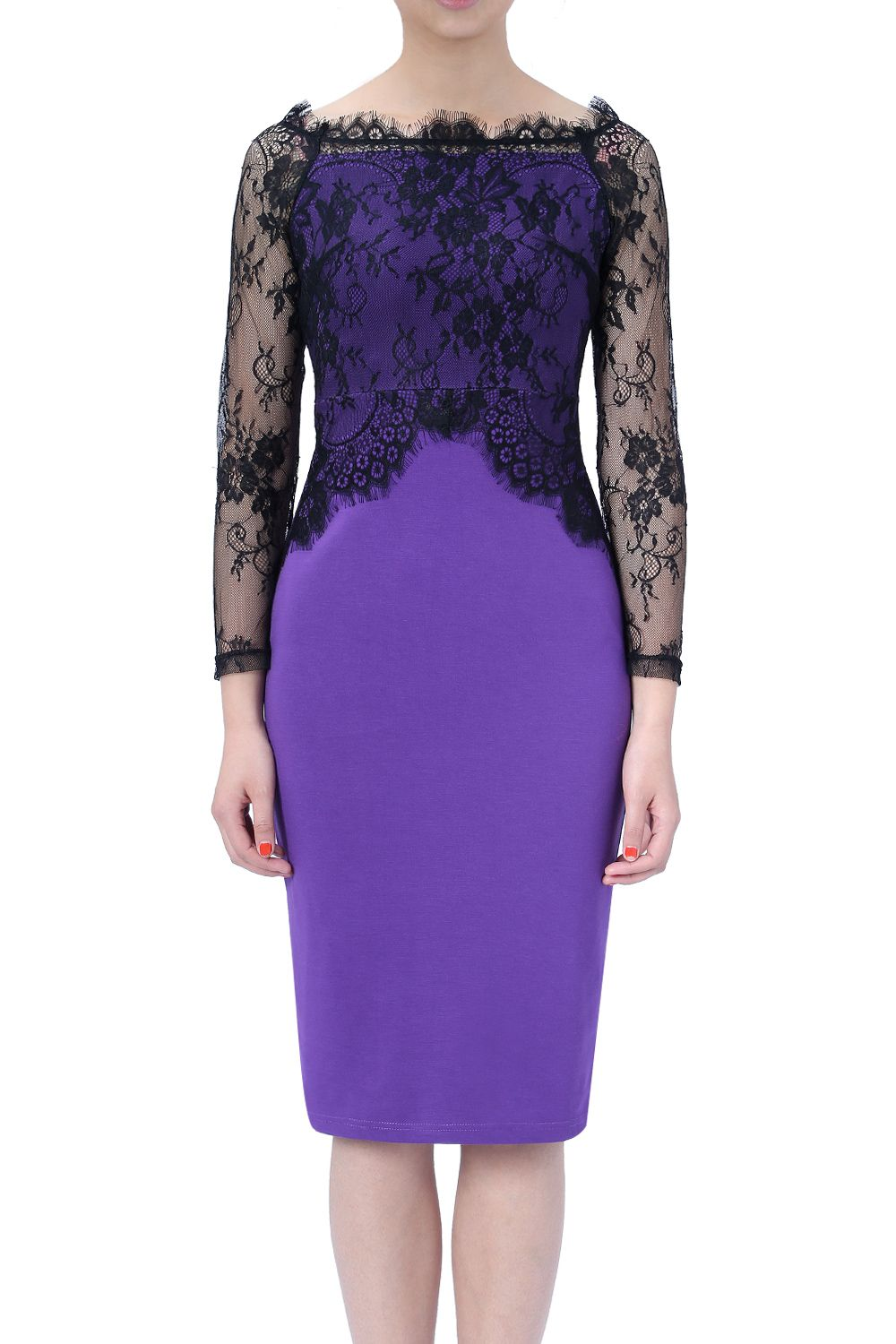 Women Elegant Formal Floral Lace Long Sleeve Slim Fitted Bodycon ...