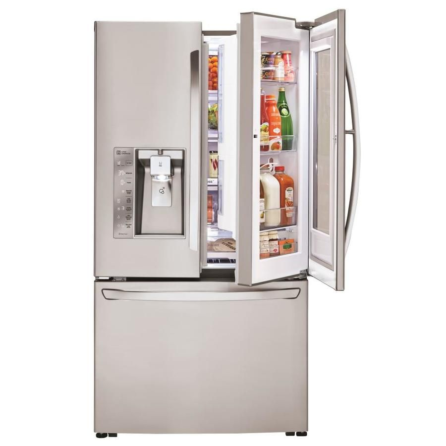 Lg Smartthinq Instaview 23 5 Cu Ft Counter Depth French Door Refrigerator With Ice Maker And Door Within Door Stainless Steel Energy Star Lowes Com French Door Bottom Freezer French Door Bottom Freezer Refrigerator French
