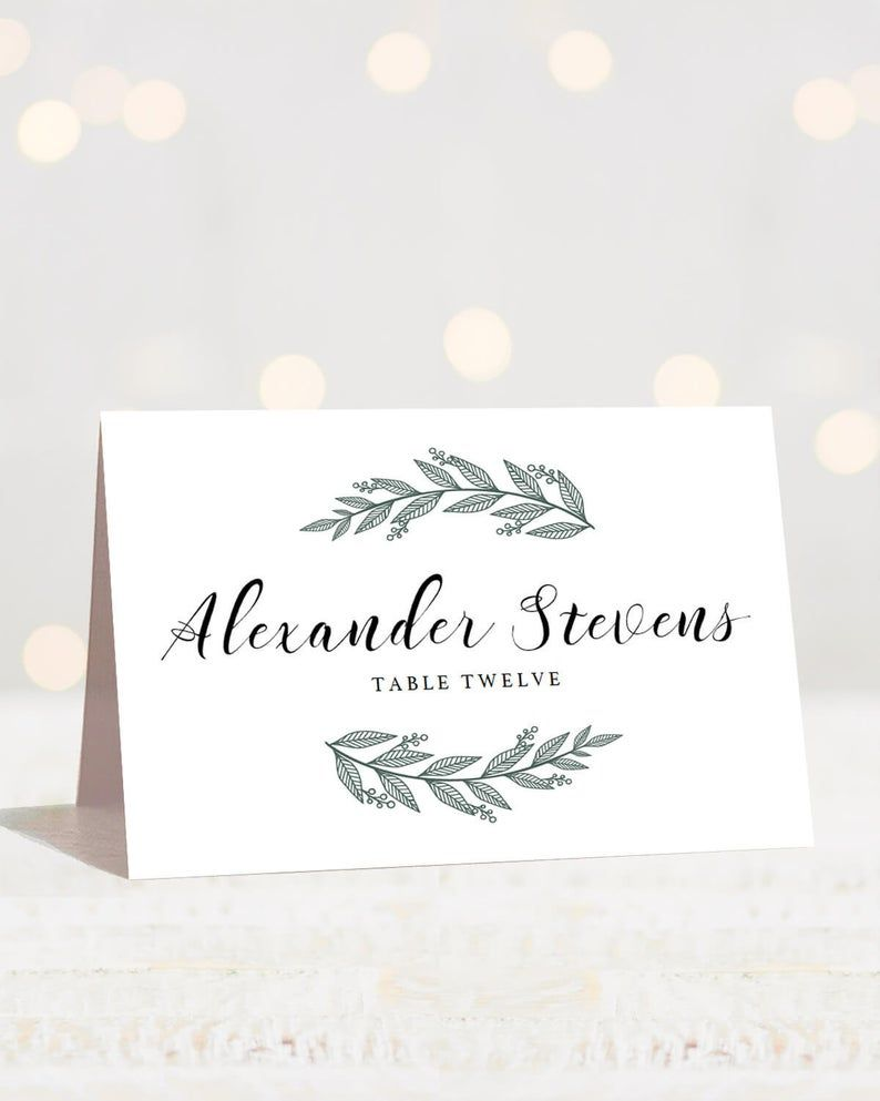 Greenery Wedding Place Cards Template Printable Name Cards ...