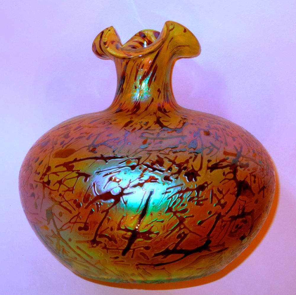 Large kralik bacillus iridescent art glass vase ebay vase large kralik bacillus iridescent art glass vase ebay floridaeventfo Images