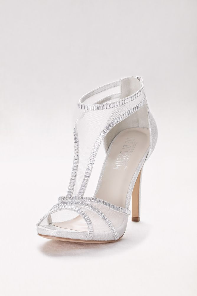 f1a3b4f7d Mesh T-Strap High Heels with Crystal Embellishment - Silver