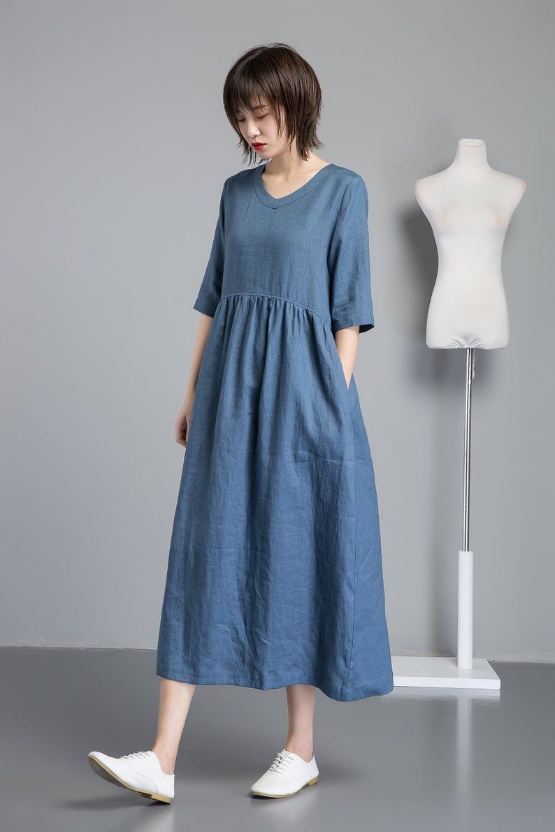 Linen Dress Simple Linen Dress Plus Size Dress With Pockets Etsy In 2020 Blue Linen Dress Linen Dress Womens Dresses