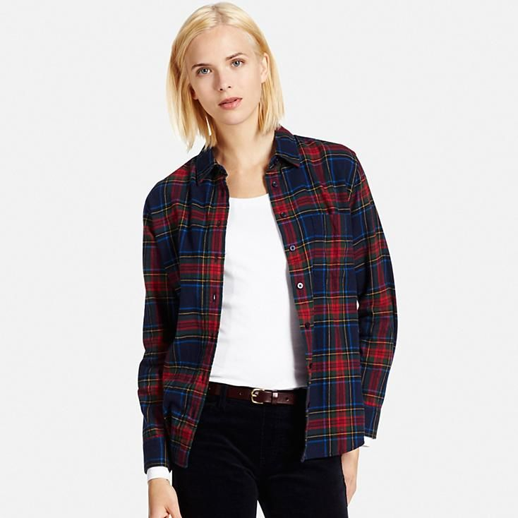 1dc807f5257 Women flannel check long sleeve shirt | uniqlo | Shirts, Long sleeve ...