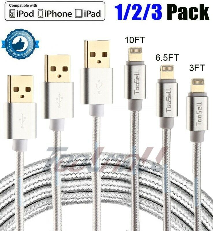 Iphone 6 Charger Cable - 3 Pack 6ft Usb Braided Charger Charging Cable Cord For Iphone 6 7 8plus ...