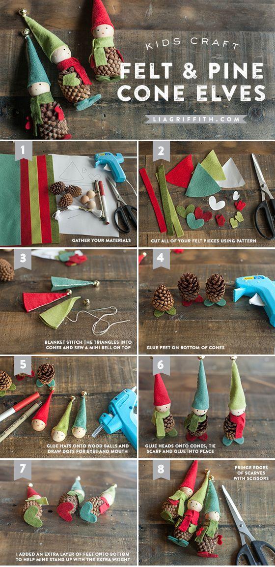 Kid's Craft: Felt and Pine Cone Elves