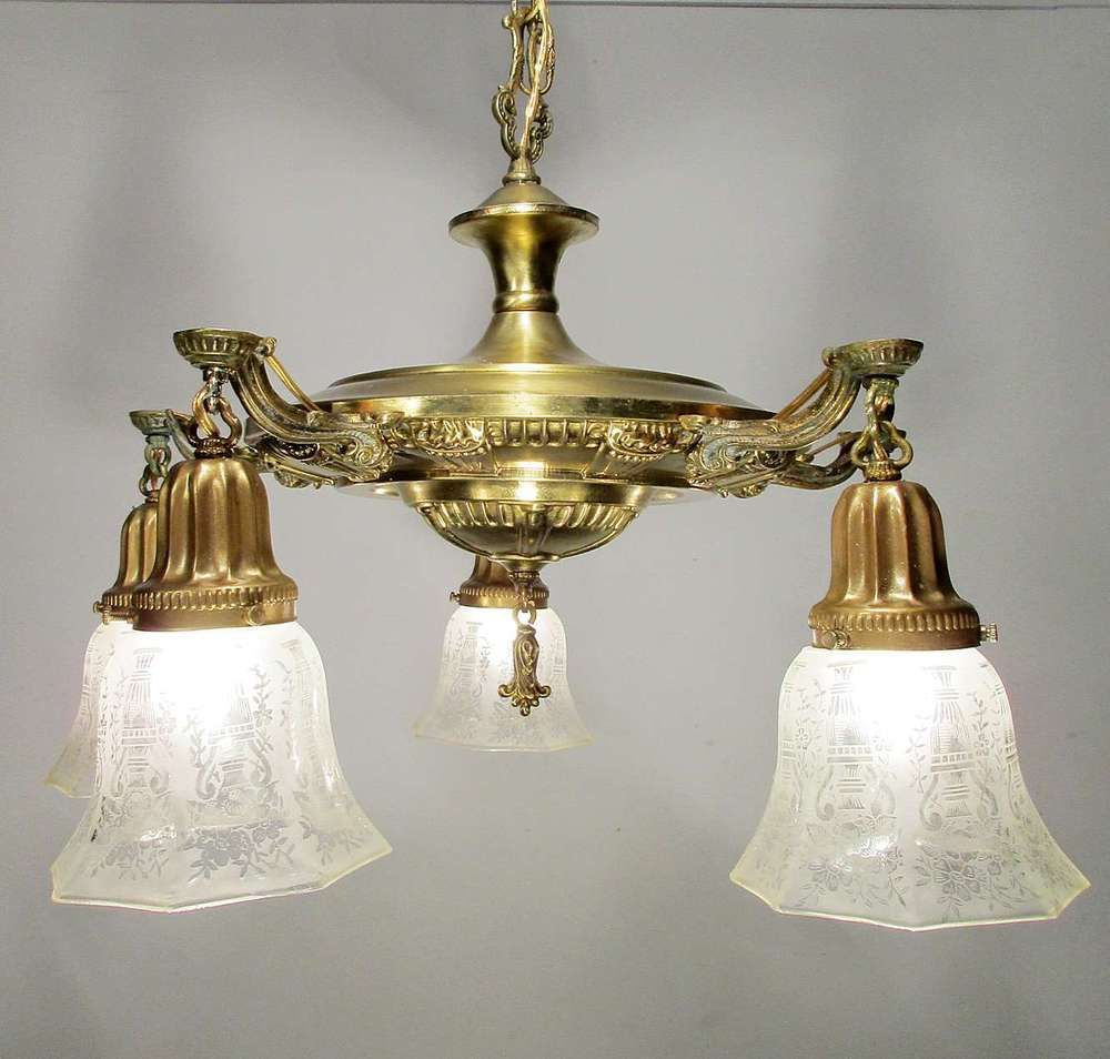 Antique Vintage Chandelier Light Fixture Pan Gold Finish W Gl Shades In Antiques Architectural