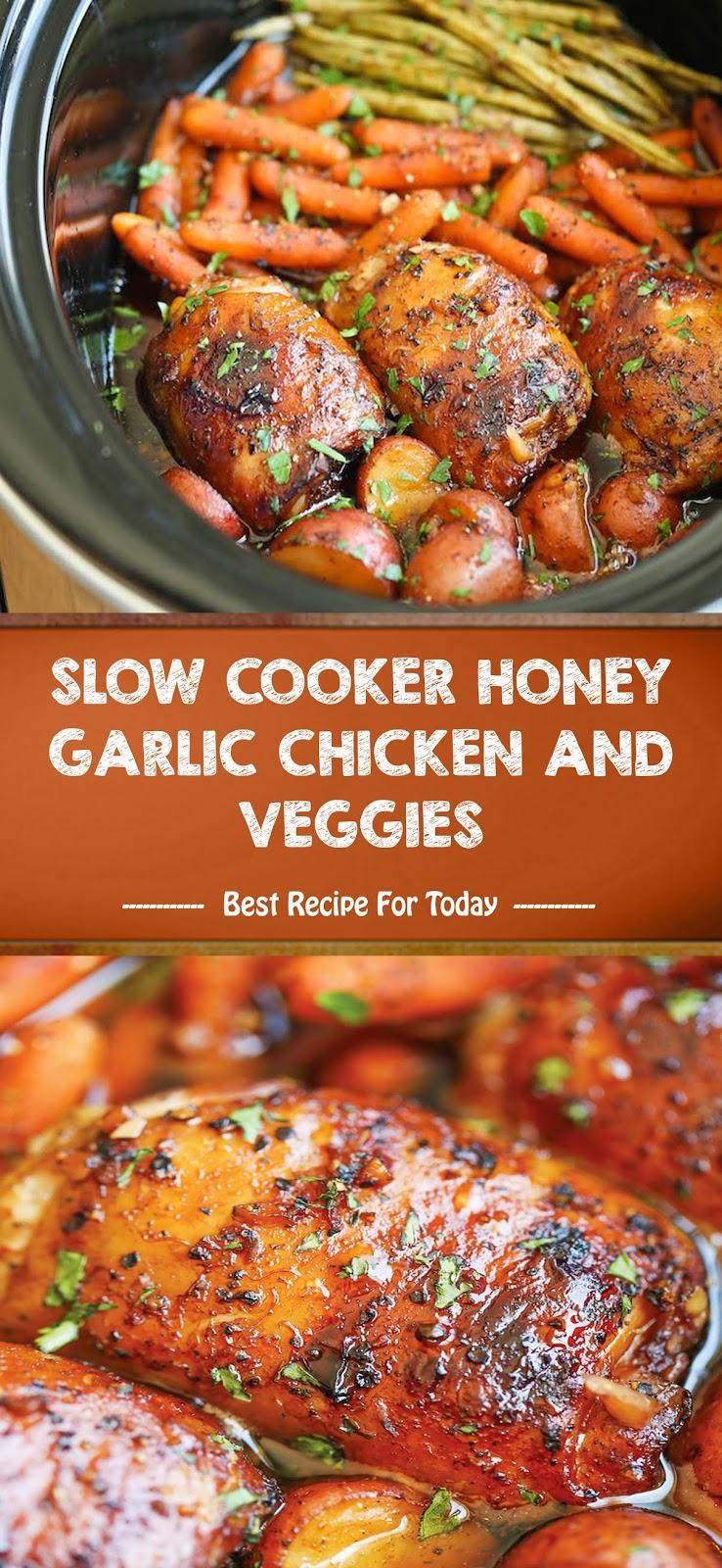 Slow Cooker Honey Garlic Chicken And Veggies Aneka Resep Minuman Chicken Recipes Boneless Chicken Crockpot Recipes Healthy Chicken Crockpot Recipes