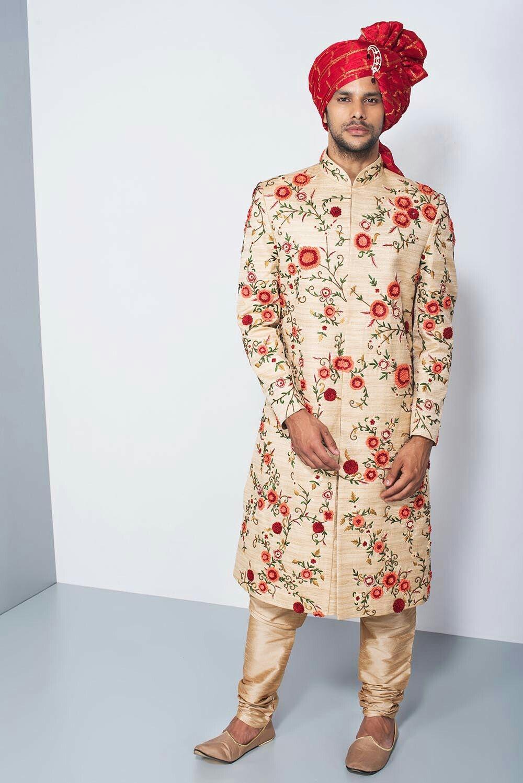 555c92c53f OSHNAAR - beige floral threadwork sherwani #flyrobe #groom #groomwear  #groomsherwani #sherwani #flyrobe #wedding #designersherwani