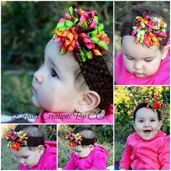 "3"" Thanksgiving Fall Swiss Dots Grosgrain Korker Bow and 1.5"" Crochet headband by ElegantCreationsByCC, $5.99"
