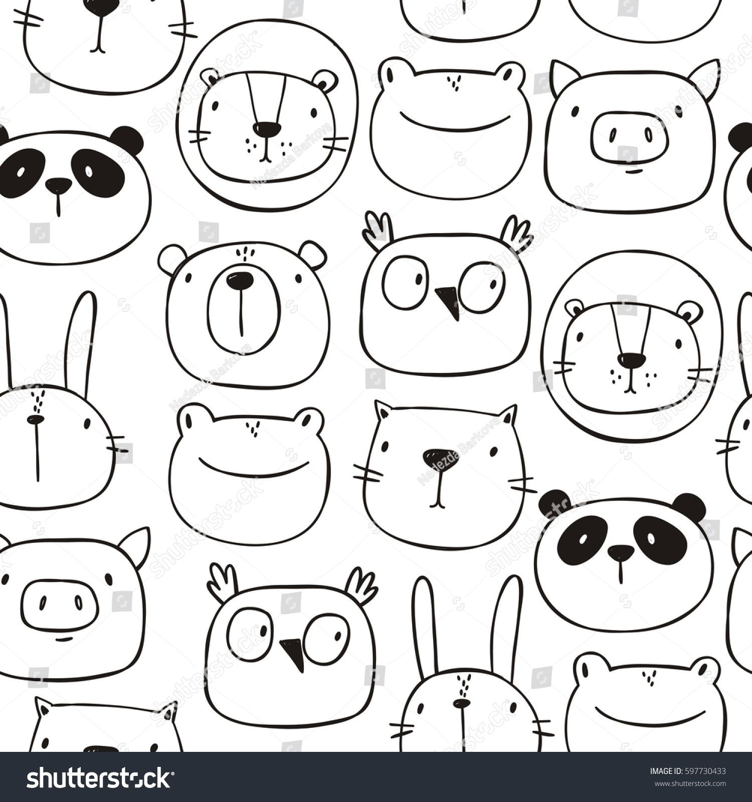 Cute Print With Cat Lion Bear Pig Frog Panda Hare Owl Hand Drawn Print Seamless Pattern Image Vector Art Drawings For Kids Doodles Animal Doodles