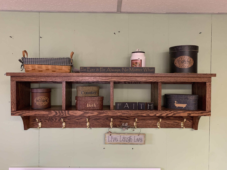 Cubby Wall Shelf Country Shelf For Baskets Bath Or Entryway W Hooks Primtive Distressed Black Wall Shelf With Baskets Decor Country Shelves