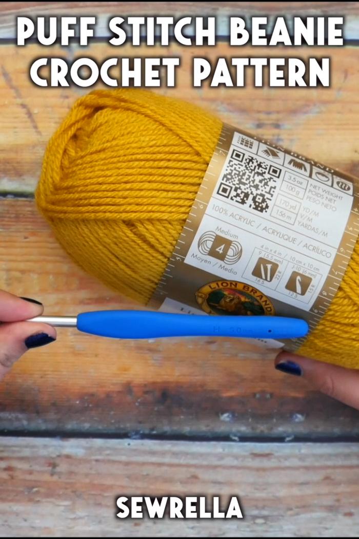 Crochet Puff Stitch Beanie – free pattern & tutorial