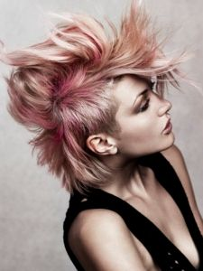 Edgy Pink Messy Hair Style