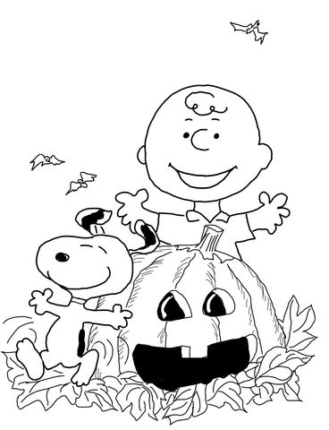 Halloween Coloring page -- Charlie Brown and Snoopy | Halloween/Fall ...