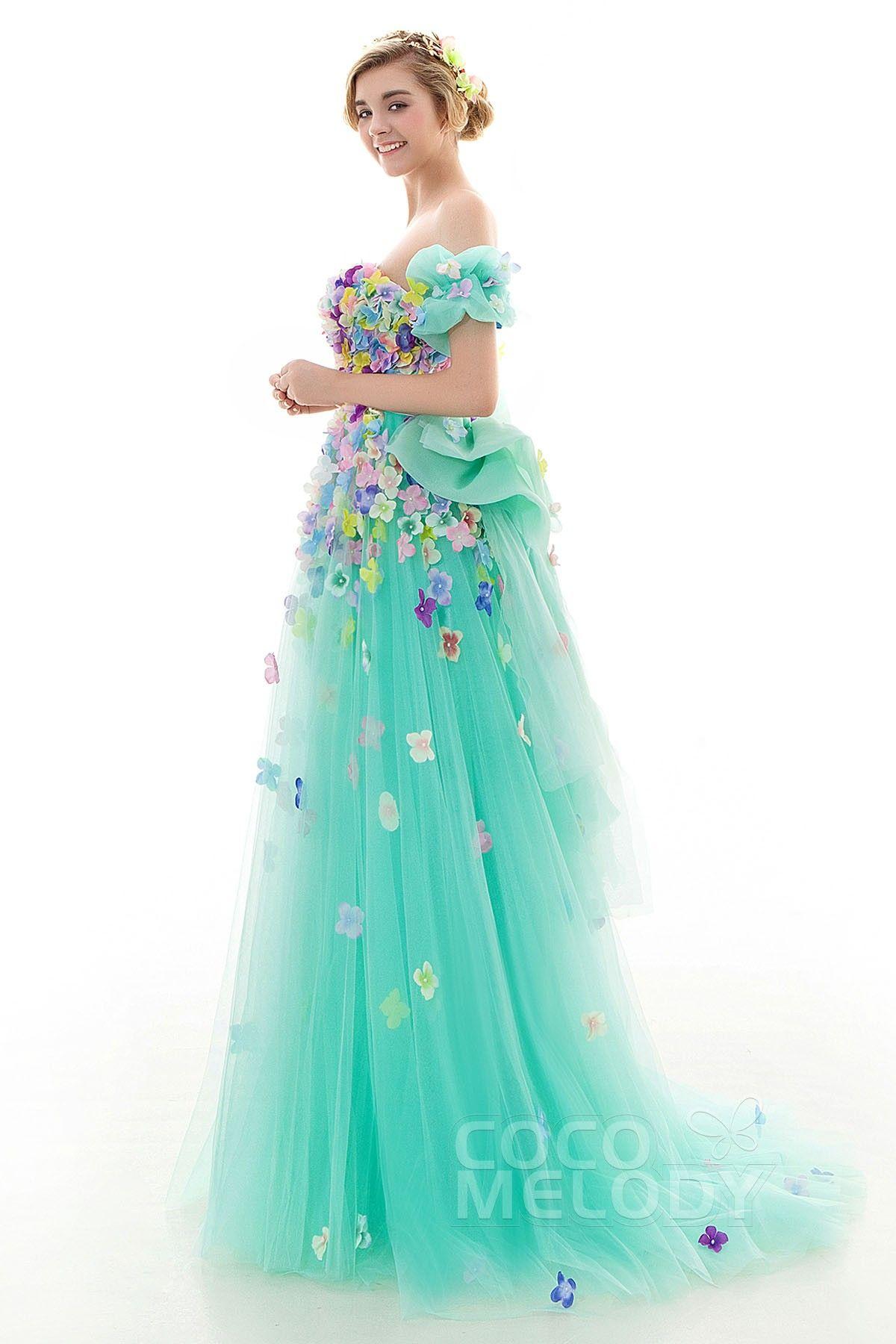 カラードレス エンパイア リボン 袖つき お花いっぱい グリーン チュール ...