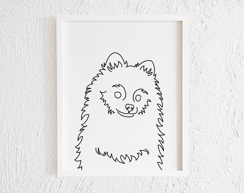 Pomeranian Face Doodle Print Printable Modern One Line Etsy Line Artwork Dog Wall Decor Face Doodles