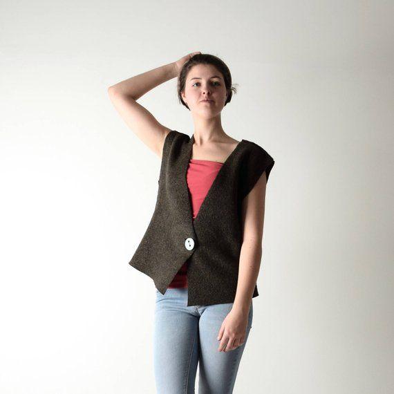 hot sale online c5d1e 6c31b Felt vest, Wool vest, Womens vest, Sleeveless cardigan ...