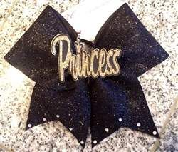 PRINCESS Center Graphic Glitter Cheer Bow