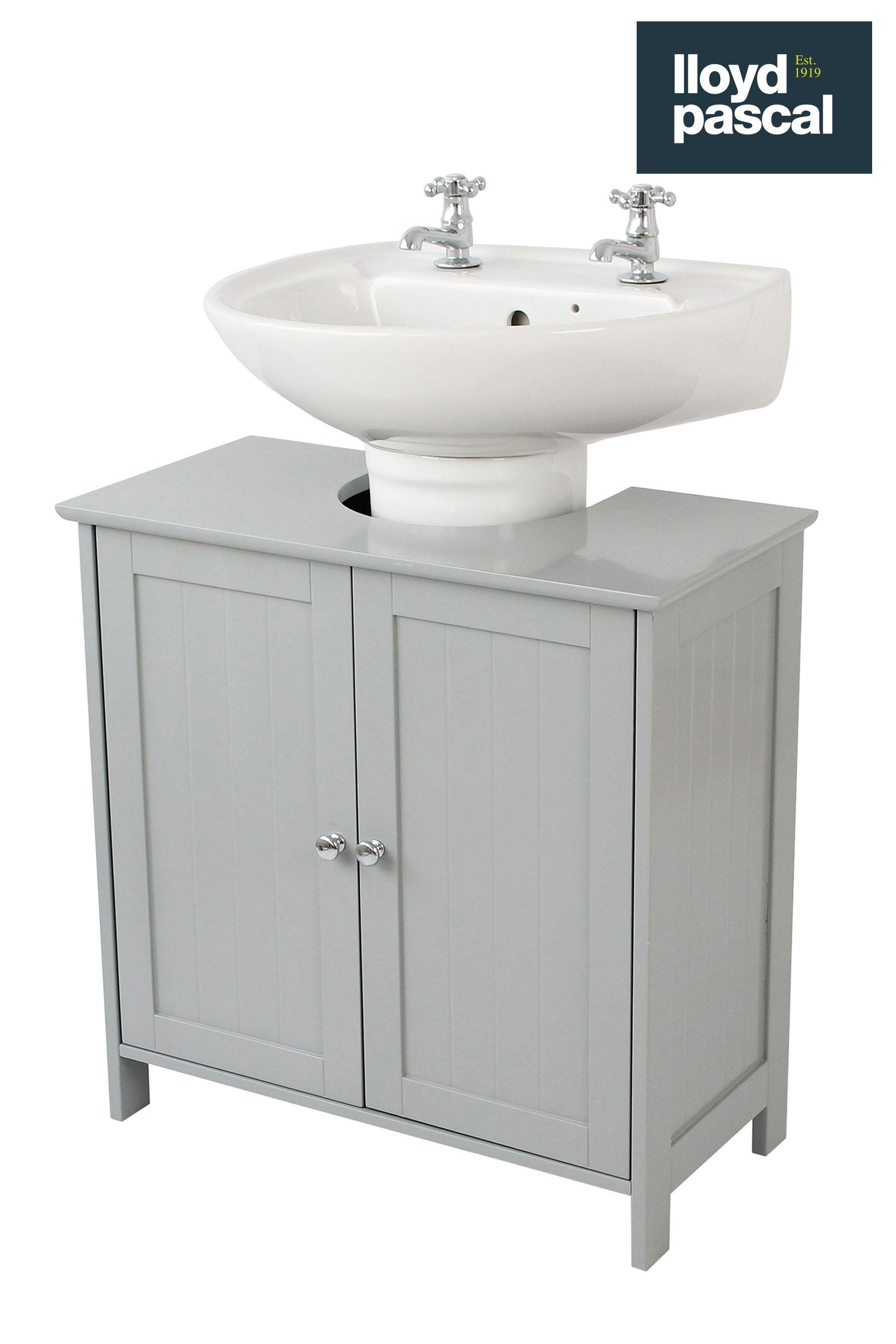 Lloyd Pascal Grey Painted Under Sink Storage Grey Under Sink Storage Sink Storage Small Bathroom Storage