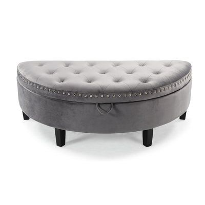 Pleasant House Of Hampton Bloodworth Half Moon Tufted Storage Ottoman Andrewgaddart Wooden Chair Designs For Living Room Andrewgaddartcom