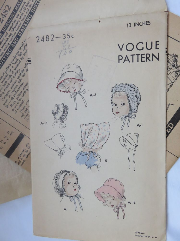 Details About Vintage Vogue Pattern Baby Bonnets 2482 Six