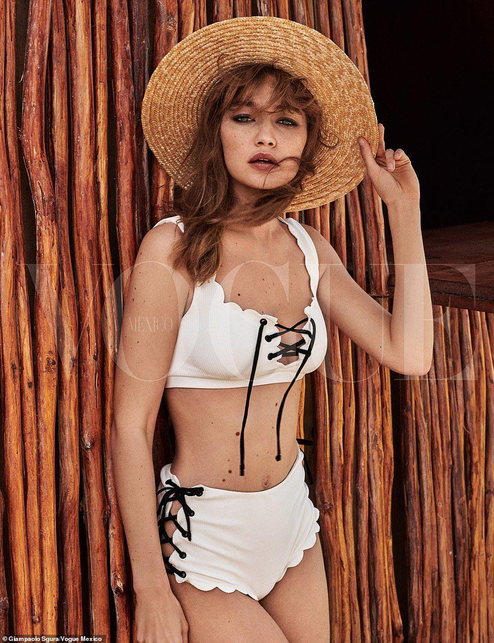 Gigi Hadid modèle un bikini blanc pour Mexico Vogue   – Swimsuit – Bikini – Mayo