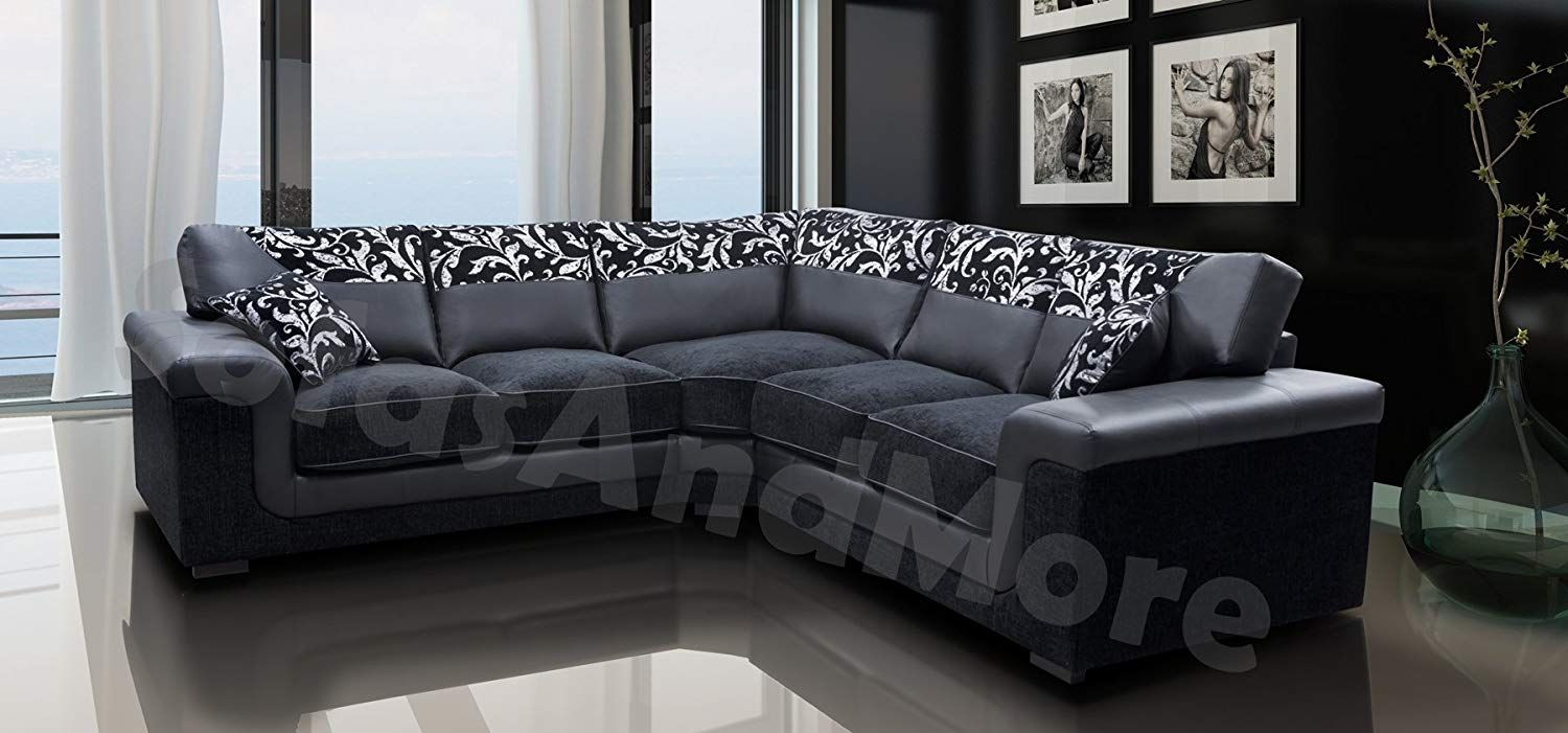 Harmony Corner Sofa Black Faux Leather Fabric Settee Co Uk Kitchen