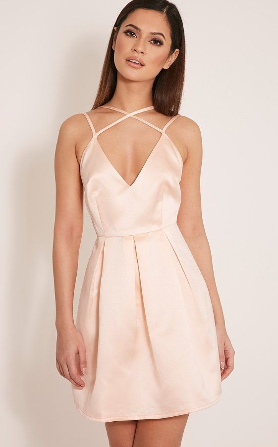 4a0e4fc789 Pin for Later  50 Gorgeous Bridesmaid Dresses Under £50 Pretty Little Thing  Hilari Blush Strappy Satin Skater Dress (£30)