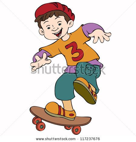 Skateboard Park Cartoon Vector Illustration Cute Boy With