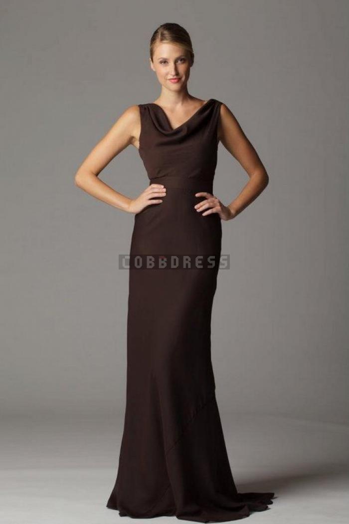 5a928e60e73 Vintage Sweep Train Chocolate Chiffon Cowl Neck Bridesmaid Dress ...