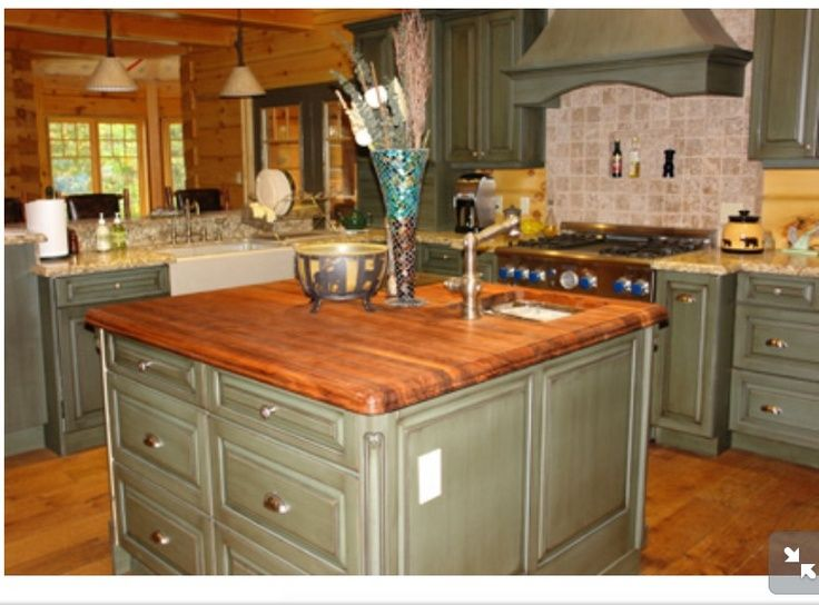 Sage Green Cabinets With Butcher Block Countertops Sage Green Island With Butcher Block Countertop Green Kitchen Green Kitchen Cabinets Green Kitchen Island
